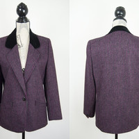 Vintage Windsmoor Womens Tweed Red Pink Grey Pinstripe Wool Ladies Jacket Blazer Size UK 10 Made in England Purple Gold Chain Velvet Collar