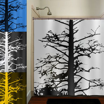 custom any color dead gnarly branches tree shower curtain bathroom decor fabric kids bath white black custom duvet cover rug mat window