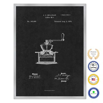 1870 Coffee Mill Grinder Antique Patent Artwork Silver Framed Canvas Home Office Decor Great for Coffee Spice Lover Cafe Shop