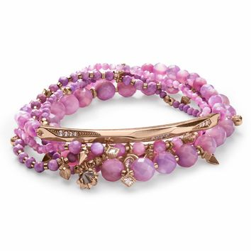 Kendra Scott: Supak Rose Gold Beaded Bracelet Set In Lilac Mother Of Pearl Mix