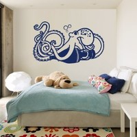 Wall Decal Decor Decals Sticker Art Design Vinyl Octopus Clever Tentacles Fish Jellyfish Deep Sea Ocean Animals Bedroom M1508