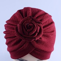 New arrival children india hat vintage Rose flower Turban cap kids beanie hats baby hats caps dome hats for girls