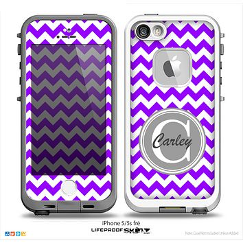 The Purple & White Chevron Monogram Name Script Skin Gray v1 Skin for the iPhone 5-5s Fre LifeProof Case