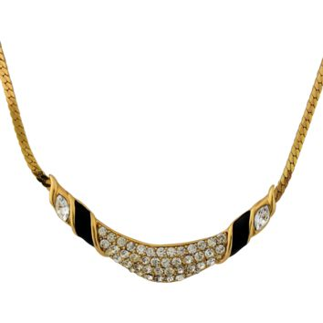 Vintage Trifari Rhinestone Black Enamel Gold Tone Necklace Sixteen Inches