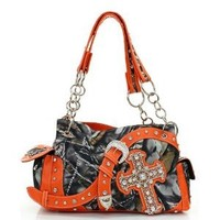 Orange Camo Western Buckle and Cross Purse