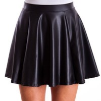 Ladies Black Sheen Texture Flare Banded Waist Skirt