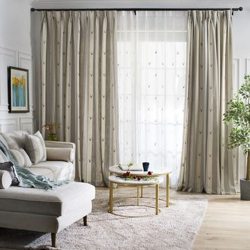 A827 Two tone (Light grey/Cream) with embroidered deer head pattern Window Curtain Panel