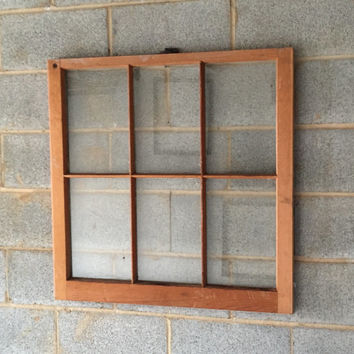 "Vintage 6 Pane Window Frame - 32""W x 32""L, Brown, Rustic, Antique, Wood, Wedding, Engagement, Home, Beach Decor, Photos, Picture Frame"