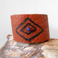 Leather Cuff Bracelet with Lapis Lazuli Gemstone, Hand Drawn Native American Symbols, Eye of Wisdom, Hippie, Boho, Gypsy, Natural Buffalo