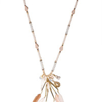 Necklace with white feather pendants