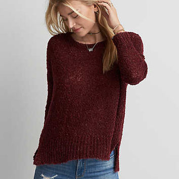 AEO Boucle Sweater, Burgundy