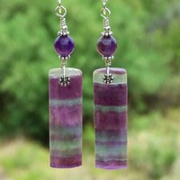 Rainbow Fluorite and Amethyst Earrings, Purple Gemstones Jewelry Gift