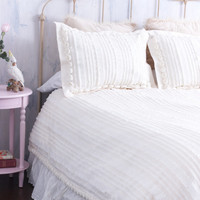 Bedding Designed in Shimmery Ivory- Cream Ruffles and Gorgeous Rosettes - A Garden of Roses and Shimmering Ruffles!