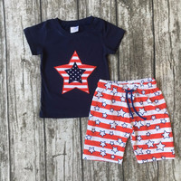 BOYS 4TH OF JULY SUMMER SHORTS & TEE OUTFIT