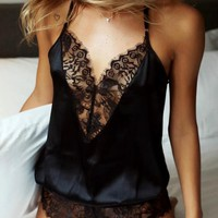 Fashion Sexy V Collar Vest Style Lace Hollow Romper