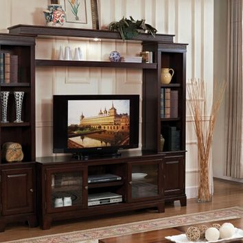 A.M.B. Furniture & Design :: Living room furniture :: Entertainment centers :: 4 pc Keenan walnut finish wood slim profile entertainment center wall unit with TV stand and side towers