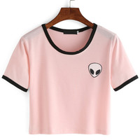 Pink Crew Neck Alien Print Crop T-ShirtFor Women-romwe
