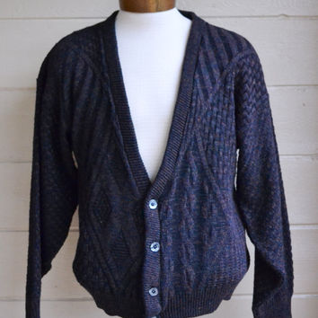 Vintage Men's Button Down Cardigan Sweater Grandpa Sweater by Sears Roebuck Brown Sweater Medium