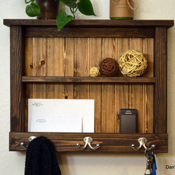 Rustic Wood Entryway organizer Hall Foyer Keys Phone Mail Holder Hat Coat Rack Hooks With Shelf Light Dark Walnut Pine Plank Wainscot