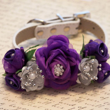 Purple Silver Wedding Floral Dog Collar, Dog Lovers, Purple and Silver