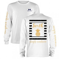 Simply Southern Pineapple Long Sleeve - White