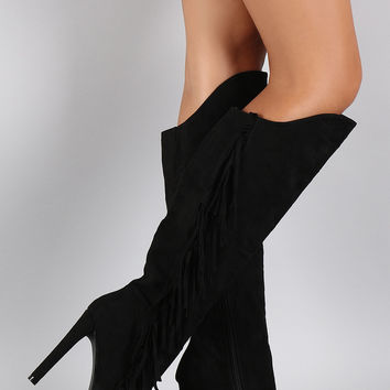 Qupid Suede Asymmetrical Fringe Pointy Toe Heeled Knee High Boot