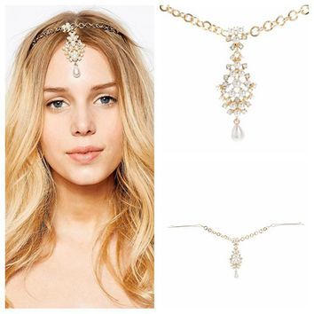H:HYDE Indian Gold Color Hair Accessories Crystal Simulated Pearl Drop Forehead Jewelry Women Girls Wedding Bridal Hairpins