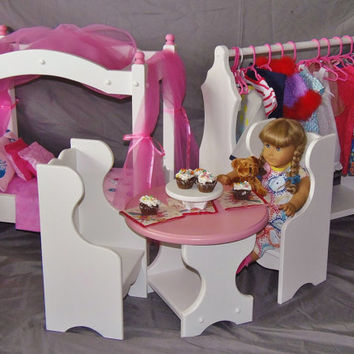 American Girl Doll:  Doll table with two Windsor chairs perfect for American girl doll and all 18 inch dolls