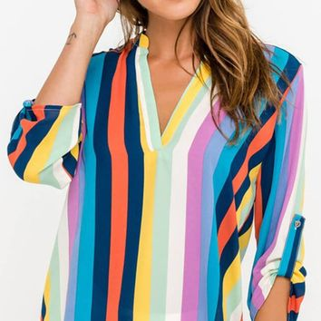 Rainbow Dreams Multicolor Vertical Stripe Pattern Tab Sleeve V Neck Blouse Top