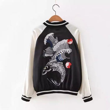 On Sale Hot Deal Sports Autumn Women's Fashion Embroidery Jacket Tops Baseball [6332328900]