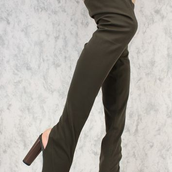 Olive Stretchy Lycra Peep Toe Chunky Heel Thigh High Boots
