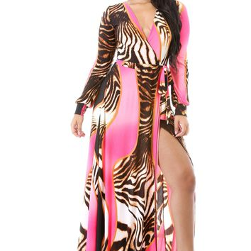 Peekaboo Tiger Contrast Maxi Dress