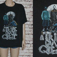 Rare Tshirt A Tribe Called Quest 1993 Tour Concert Midnight Marauders 90s Hip Hop Rap Grunge Punk Graphic Tee T Shirt XL Black Mens Q Tip