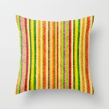 Colorful Stripes and Curls Throw Pillow by gx9designs