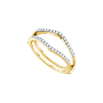 14kt Yellow Gold Womens Round Diamond Ring Guard Wrap Enhancer Wedding Band 1/4 Cttw 46727