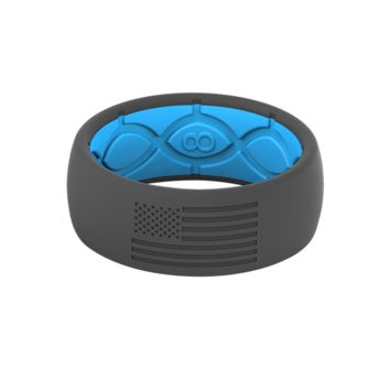 GROOVE AMERICA SILICONE RING - BLUE / STONE GREY WITH BLACK FLAG