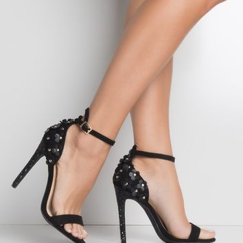High Stiletto Glitter Heel Open Toe Flower Detail Ankle Strap Sandals in Black