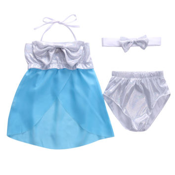 Toddler Kids Baby Girls Tie Knonot Costume Frozen Tankini Bikini Set Swimsuit Swimwear 1-6Y