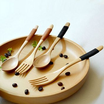 1 set 2 pieces natural eco-friendly wooden log spoon fork