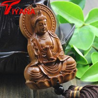 Chinese Wood Carving & Buddha Beads Chinese Halloween gifts Shakyamuni Statue Sculpture Amulet Car Pendant Netsuke AHJ004