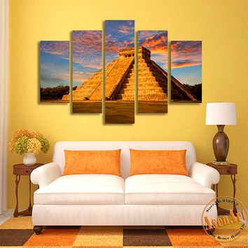 5 Panel Canvas Art Mayan Culture Building Landscape Painting Canvas Prints Artwork Picture for Living Room Unframed
