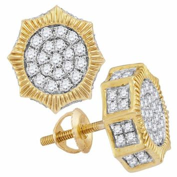 10kt Yellow Gold Mens Round Diamond Starburst 3D Cluster Stud Earrings 3-4 Cttw - FREE Shipping (US/CAN)