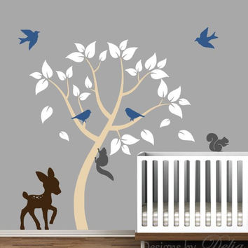 Children's Room Wall Decor with Tree and Forest Animals