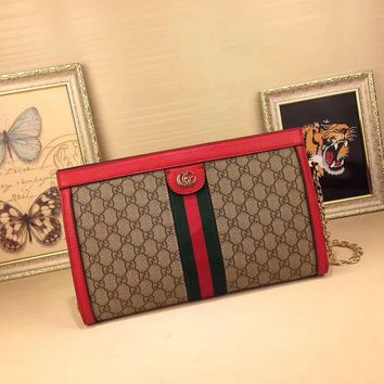 Gucci Women's Pvc And Leather Inclined Chain Shoulder Bag #35091 - Best Deal Online