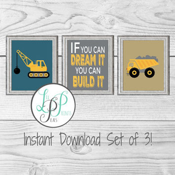 Construction Wall Decor, Construction Theme Nursery, Boy's Room Decor, Dump Truck Wall Art, Printable Nursery Decor, Construction Vehicle
