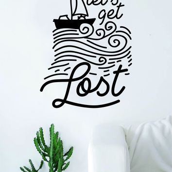 Let's Get Lost Boat Waves Quote Decal Sticker Wall Vinyl Art Home Room Decor Travel Adventure Inspirational Wanderlust Nautical Ocean Beach