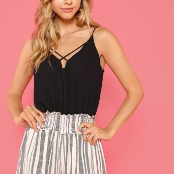 Pattern Print Romper with Lattice Front