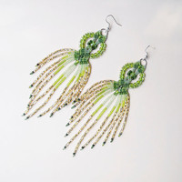 Long micro macrame earrings - Tassel Fringe Sparkly Green Lime Gold Unique