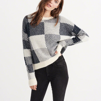PLAID CREW SWEATER