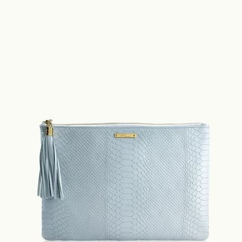 GiGi New York Uber Clutch Harbor Blue Embossed Python Leather